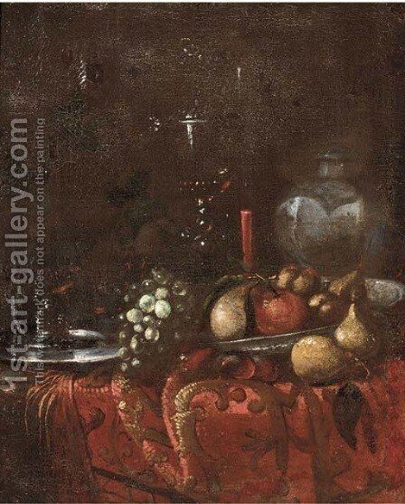 Grapes, pears, roemers, an earthenware jug by (after) Juriaen Van Streeck - Reproduction Oil Painting