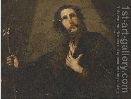 Saint Joseph and his flowering rod by (after) Jusepe De Ribera - Reproduction Oil Painting