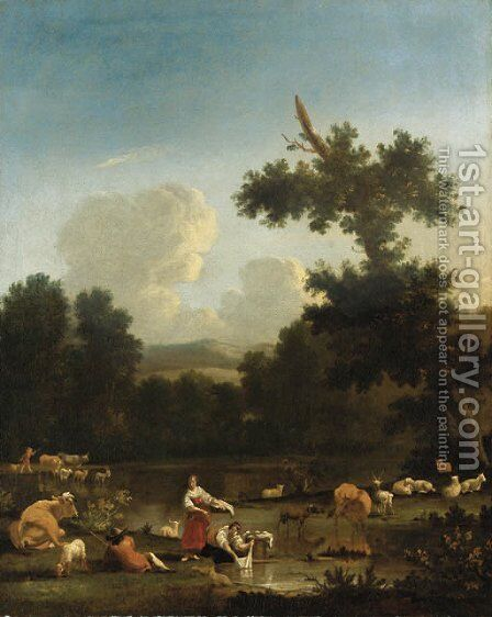 A wooded landscape with women washing clothesby a lake, with herdsmen, cattle and sheep by (after) Of Karel Dujardin - Reproduction Oil Painting