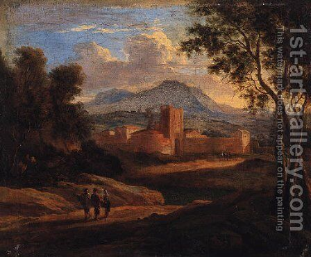 An Italianate landscape with travellers on a track, a walled town beyond by (after) Karel Dujardin - Reproduction Oil Painting