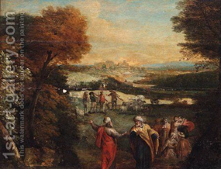 A wooded landscape with Jacob and Laban by (after) Karel Van Mander - Reproduction Oil Painting