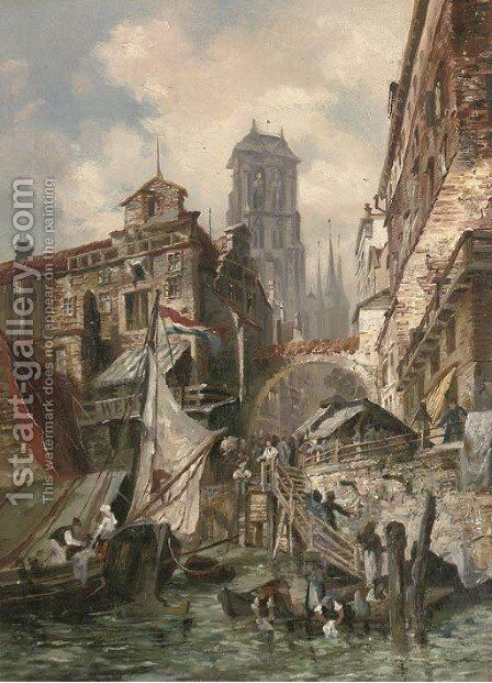 Rotterdam by (after) Karl Kaufmann - Reproduction Oil Painting