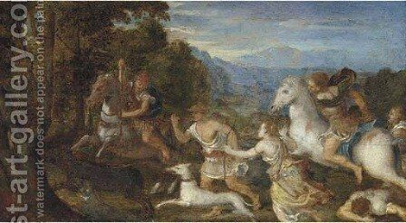 A boor hunt by (after) Lambert Sustris - Reproduction Oil Painting