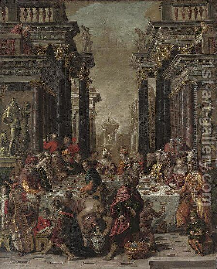 Balthasar's Feast by (after) Lambert Sustris - Reproduction Oil Painting