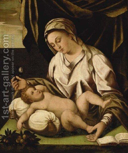 The Madonna and Child by (after) Lambert Sustris - Reproduction Oil Painting