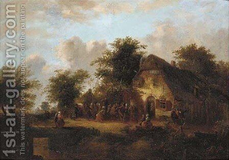 A village kermesse by (after) Laurent Herman Redig - Reproduction Oil Painting