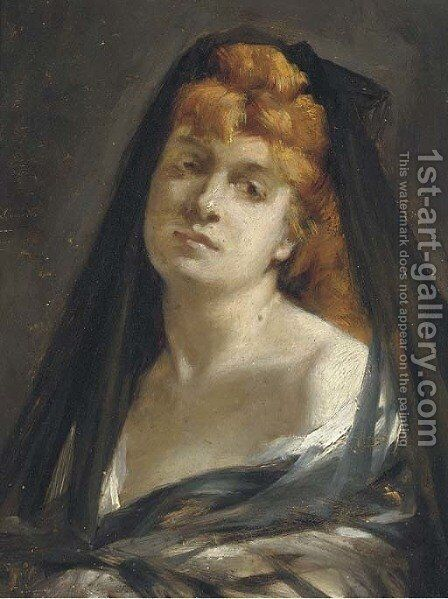Portrait of a lady by (after) Leon Francoise Comerre - Reproduction Oil Painting