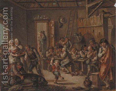 Merrymaking In A Tavern Interior by (after) Leonard Defrance - Reproduction Oil Painting