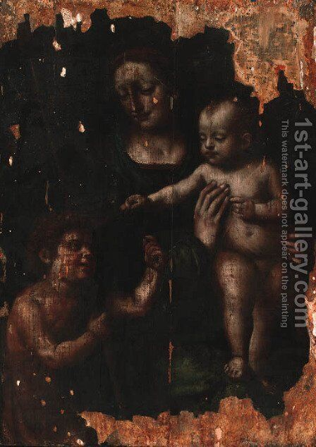 The Madonna and Child with the Infant Saint John the Baptist by (after) Leonardo Da Vinci - Reproduction Oil Painting
