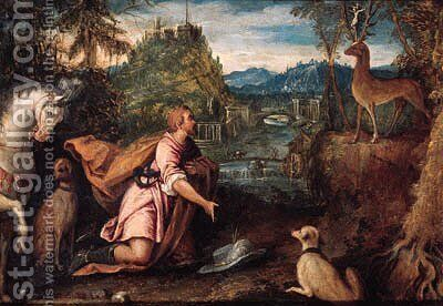 The Vision of Saint Hubert by (after) Lodovico Pozzoserrato (see Toeput, Lodewijk) - Reproduction Oil Painting