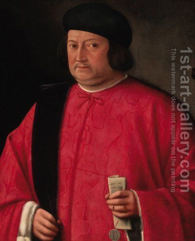 Portrait of a Venetian dignitary by (after) Lorenzo Lotto - Reproduction Oil Painting