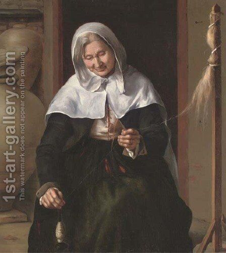 An old woman spinning wool in an interior by (after) Louis And Matthew Le Nain - Reproduction Oil Painting