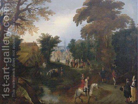A wooded landscape with elegant company on a path, the Procession of the Bride in a village beyond by (after) Louis De Caullery - Reproduction Oil Painting