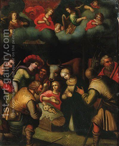 The Adoration of the Shepherds by (after) Louis De Caullery - Reproduction Oil Painting