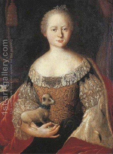 Portrait of a lady by (after) Louis De Silvestre - Reproduction Oil Painting