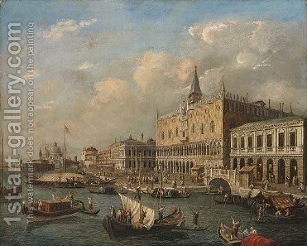 The Bacino di San Marco, Venice, looking West with the Doge's Palace and the Piazzetta by (after) Luca Carlevarijs - Reproduction Oil Painting