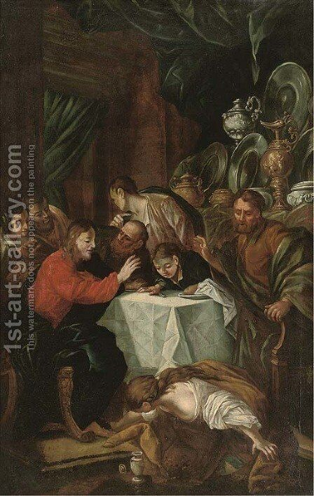 Christ at supper with Simon the Pharisee by (after) Luca Giordano - Reproduction Oil Painting