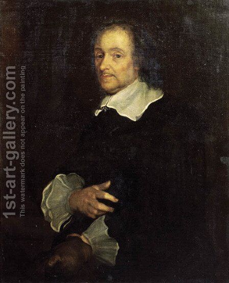 Portrait of a gentleman, half-length, wearing black costume with lace collar and cuffs by (after) Lucas Franchoys - Reproduction Oil Painting