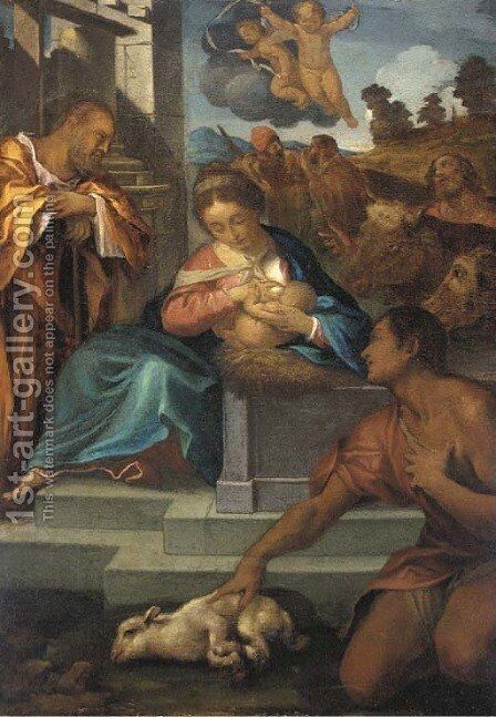 The Adoration of the Shepherds by (after) Ludovico Carracci - Reproduction Oil Painting