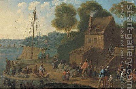 A river landscape with merchants unloading boats and other figures in the foreground by (after) Marc Baets - Reproduction Oil Painting