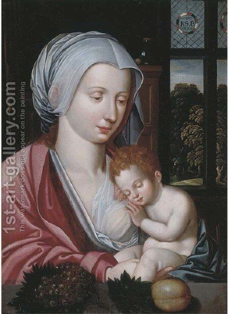 The Virgin and Child in an interior, a landscape beyond by (after) Marcellus Coffermans - Reproduction Oil Painting