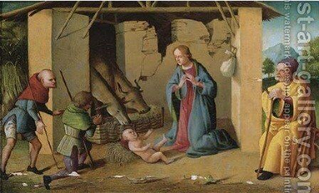 The Adoration of the Shepherds by (after) Marco Palmezzano - Reproduction Oil Painting
