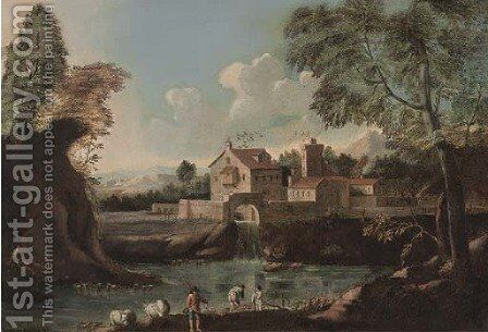 A landscape with travellers by a bridge 2 by (after) Marco Ricci - Reproduction Oil Painting