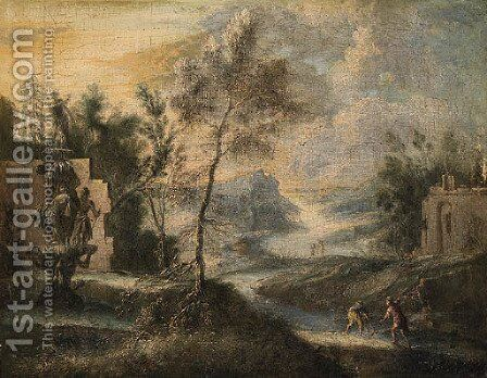 A River Landscape with Fisherman on a Bank near a Fountain by (after) Marco Ricci - Reproduction Oil Painting