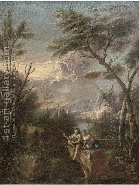A wooded river landscape with figures fishing on a cliff by (after) Marco Ricci - Reproduction Oil Painting