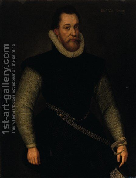 Portrait of a nobleman, said to be Edward Viscount Conway by (after) Marcus Gheeraerts - Reproduction Oil Painting