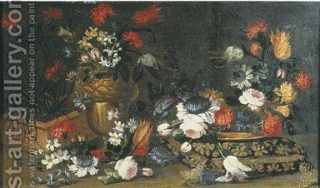 Roses, tulips and other flowers in a terracotta pot by (after) Margherita Caffi - Reproduction Oil Painting