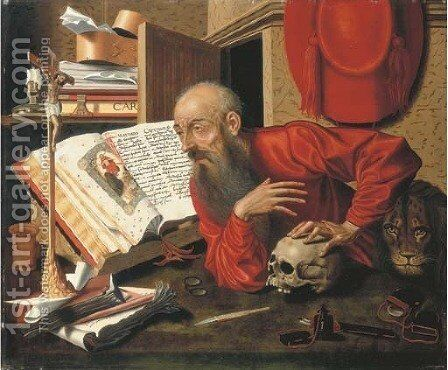 Saint Jerome in his Study by (after) Marinus Van Reymerswael - Reproduction Oil Painting