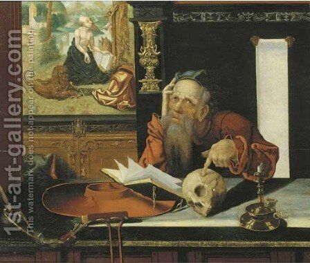 Saint Jerome in his study by (after) Marinus Van Reymerswaele - Reproduction Oil Painting