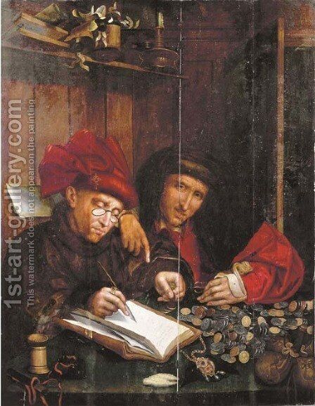 The Money Changers 2 by (after) Marinus Van Reymerswaele - Reproduction Oil Painting