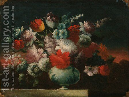 Roses, tulips, peonies and other flowers in a vase on a stone ledge by (follower of) Nuzzi, Mario - Reproduction Oil Painting