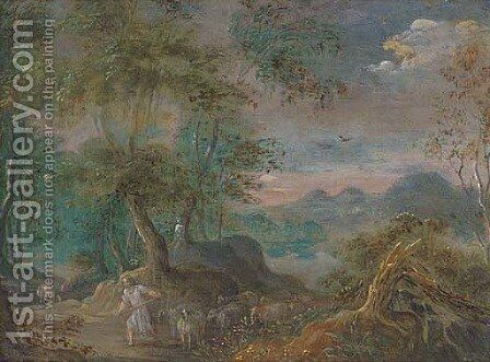 A landscape with a shepherd and his flock on a track by (after) Marten Ryckaert - Reproduction Oil Painting