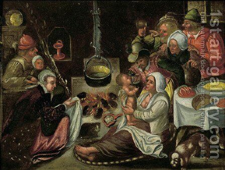 The poor kitchen by (after) Marten Van Cleve - Reproduction Oil Painting