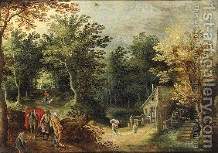 A gipsy woman and a traveller on a road by a watermill by (after) Maerten Ryckaert - Reproduction Oil Painting