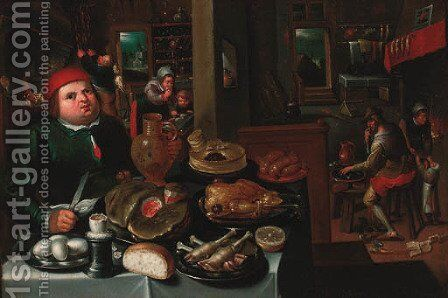 The Rich and the Poor kitchen by (after) Marten Van Cleve - Reproduction Oil Painting