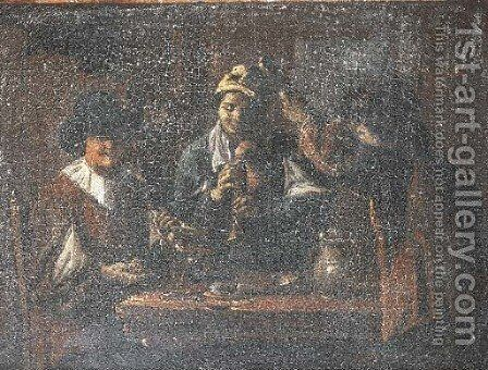 Peasants making music in an interior by (after) Matheus Van Helmont - Reproduction Oil Painting