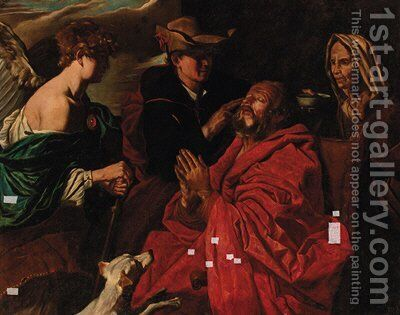 The Healing of the blind Tobias by (after) Matthias Stomer - Reproduction Oil Painting