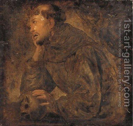 Saint Francis of Assisi by (after) Mattia Preti - Reproduction Oil Painting