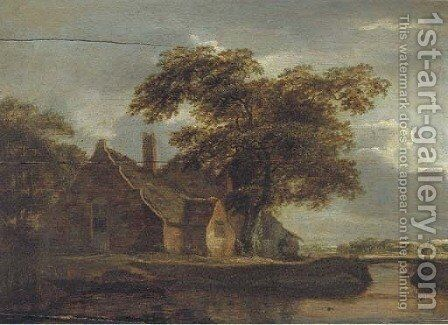 A landscape with a cottage and a traveller by a river by (after) Meindert Hobbema - Reproduction Oil Painting