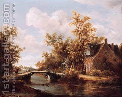 A view on a farm by a canal with travellers on a road by a bridge by (after) Meindert Hobbema - Reproduction Oil Painting