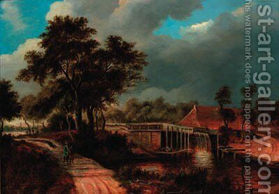 A wooded river landscape with a watermill and figures walking along a path by (after) Meindert Hobbema - Reproduction Oil Painting