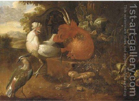 Cockerels on a stone block with a lapwing in a wooded landscape by (after) Melchior De Hondecoeter - Reproduction Oil Painting