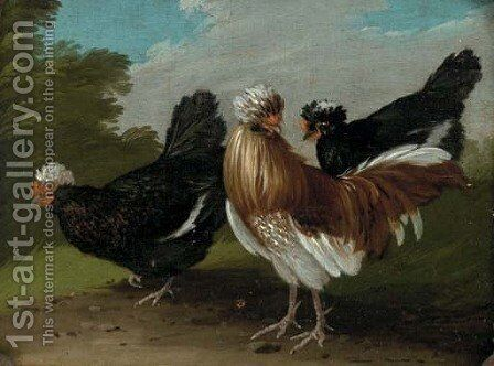 Fowl in a landscape by (after) Melchior De Hondecoeter - Reproduction Oil Painting