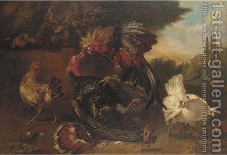 Turkeys and chickens in a landscape by (after) Melchior De Hondecoeter - Reproduction Oil Painting