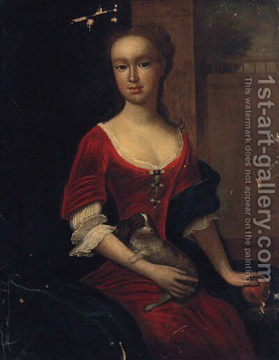 Portrait Of A Lady, Three-Quarter-Length, In A Red Dress And Blue Shawl, Resting Her Hand On An Orange, With A Spaniel On Her Lap by (after) Dahl, Michael - Reproduction Oil Painting