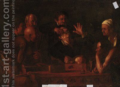 A man having a tooth pulled by (after) Michelangelo Merisi Da Caravaggio - Reproduction Oil Painting